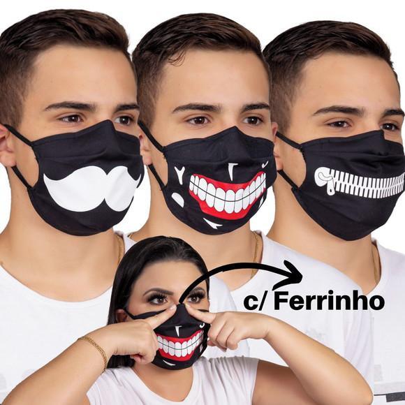 Máscara proteção dupla algodão p/ rosto tnt e haste