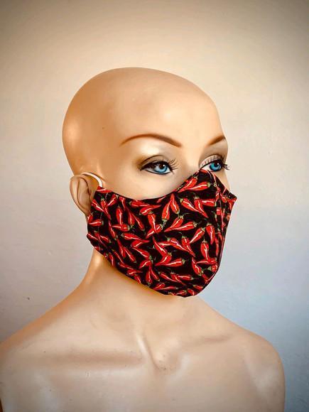 Máscara protetora de algodão lavável. estampa pimenta