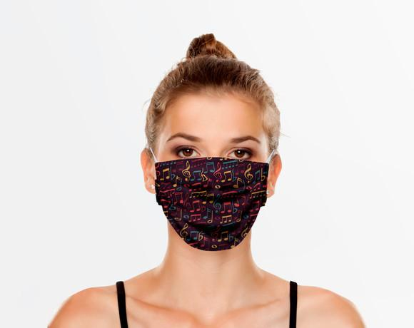 Máscaras de proteção estampa musical notas 320