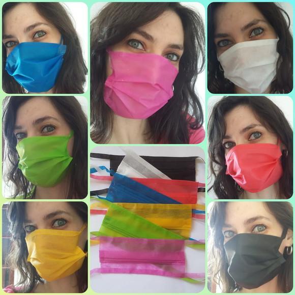 Kit 10 máscaras de proteção individual em tnt