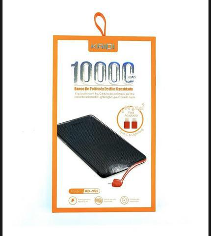 Carregador portátil kaidi power bank 10.000mah universal