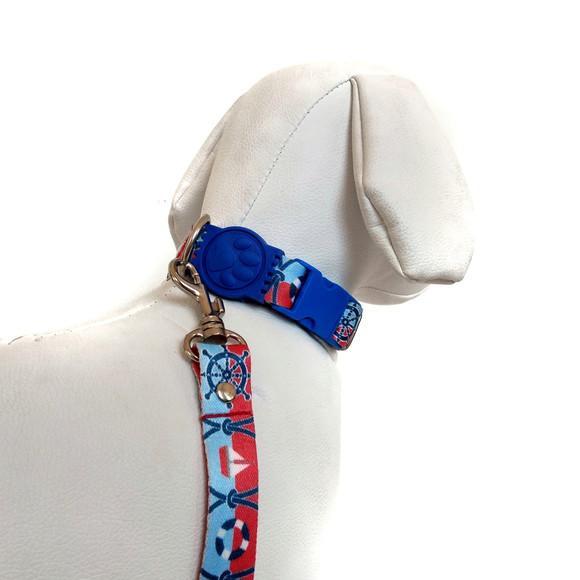 Coleira de pescoço e guia cães de médio porte marinheiro