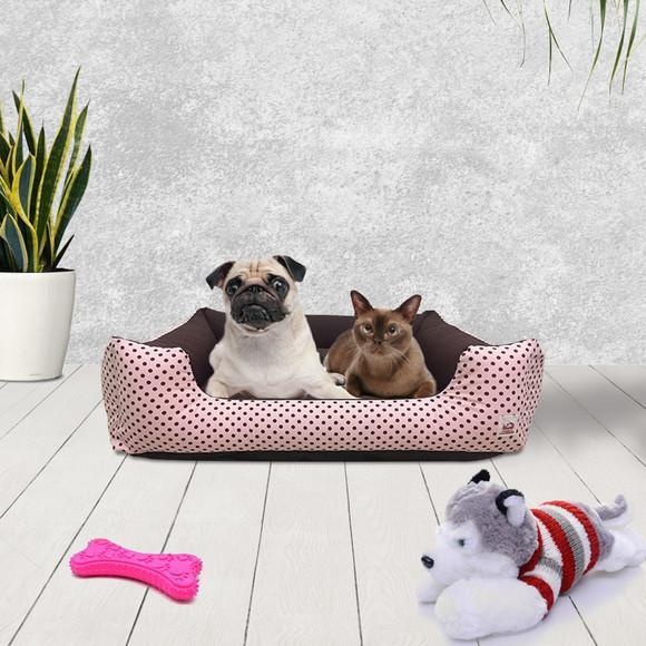 Cama para pet cachorro gato grande 70x60 choco rosa