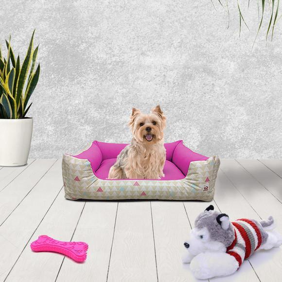 Cama para pet cachorro gato pequeno 50x40 prisma rosa