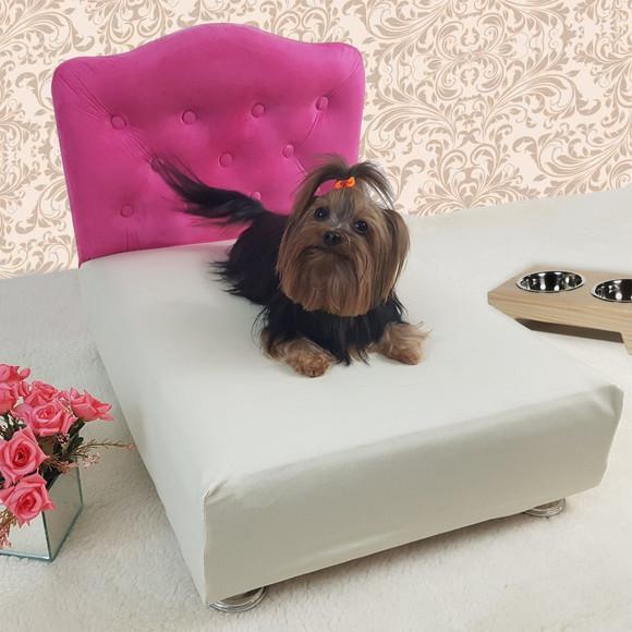 Caminha pet luxo cama box + cabeceira tam p 45x55 - pink