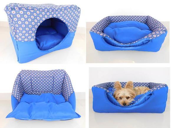 Casinha para cachorros cães gatos toca luxo azul 3 em 1
