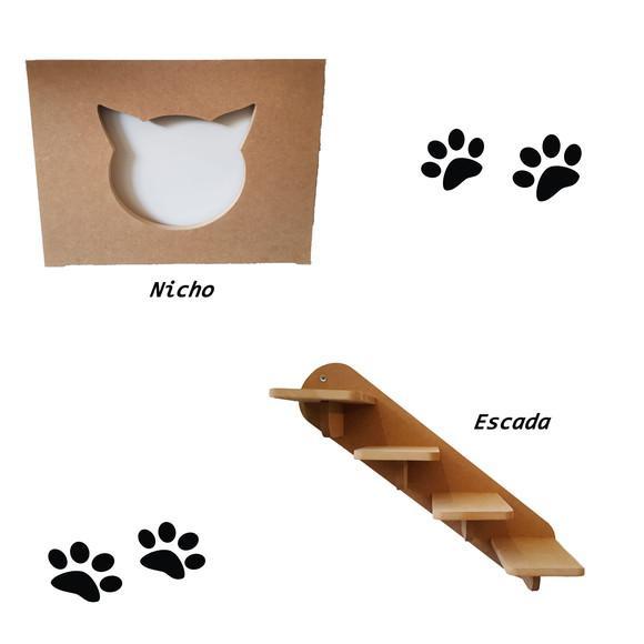 Kit 1 nicho + escada playground para gato 2 peças mdf 15mm