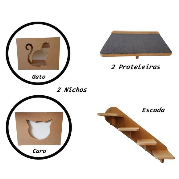 Kit 2 Nichos+ 2 Prateleira + Escada 5 Peças Gato Pet Mdf