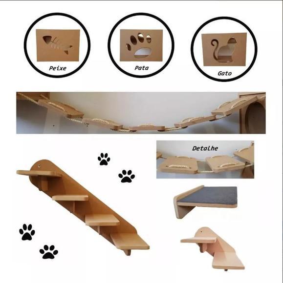 Kit 7pçs 3nichos prateleira 1 escada g e 1 pq ponte gato