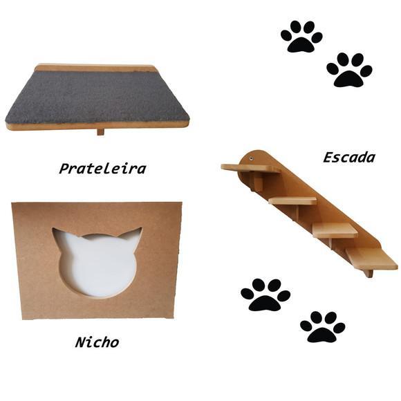 Kit nicho p/ gatos sendo 1 prateleiras + nicho + escada mdf
