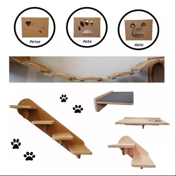 Kit nicho prateleira escada ponte 8 peças gato mdf 15mm