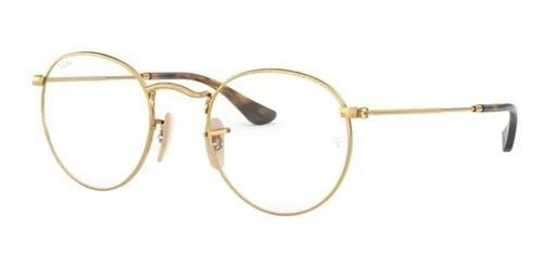 Armação oculos grau ray ban round rb3447v 2500 50 dourado