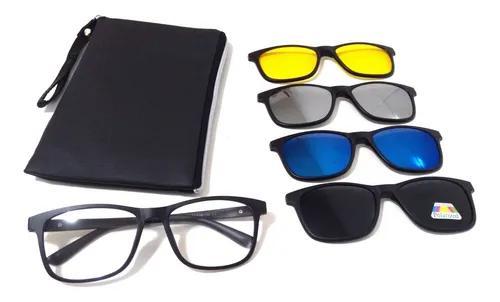 Armação óculos p/ grau clip on polarizado espelhado 4 x 1
