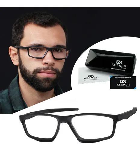 Armação óculos para grau masculino esportivo preto 3500