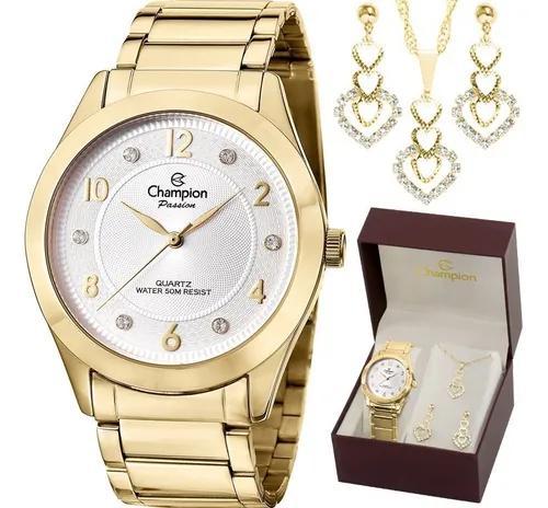Kit relógio champion dourado f