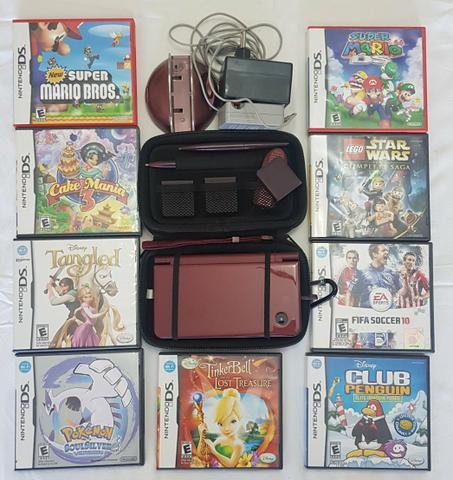 Nintendo dsi xl + acessório + 9 jogos