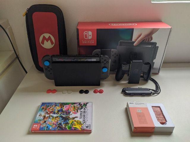 Nintendo switch cinza - com jogos e acessórios