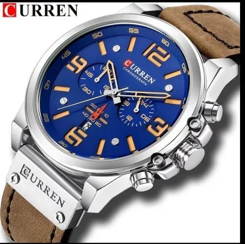 Relógio masculino curren esportivo milita couro barato