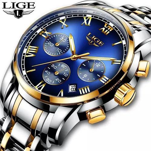 Relógio masculino lige original luxo analógico c/caixa