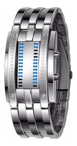 Relógio masculino pulso aço de liga data digital led -