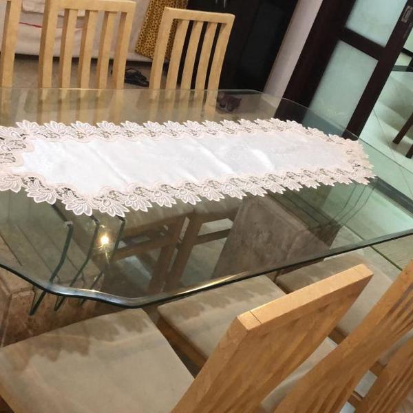 Mesa de mármore travertino- 6 lugares