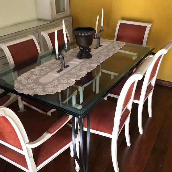 Mesa retangular de vidro + 6 cadeiras