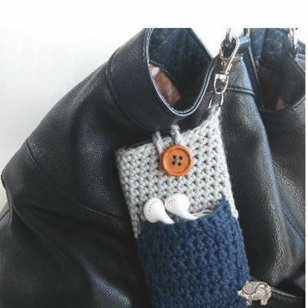 Porta celular com porta fone de ouvidos case feito a mão