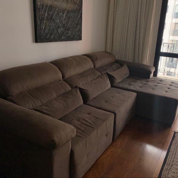 Sofá retrátil marrom reclinável 5 lugares com chaise