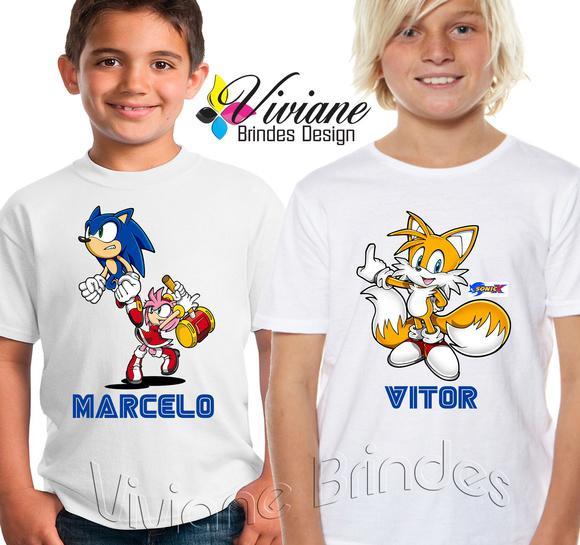 Camisa camiseta personalizada sonic festas aniversários