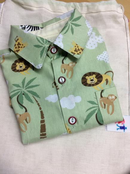 Camisa infantil safari verde manga curta