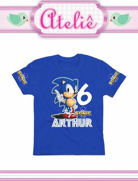 Camiseta algodão infantil personalizada sonic