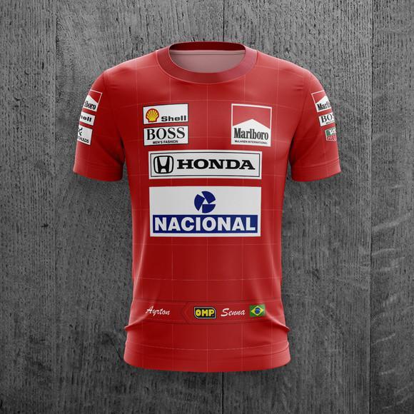 Camiseta ayrton senna mclaren fórmula 1 corrida