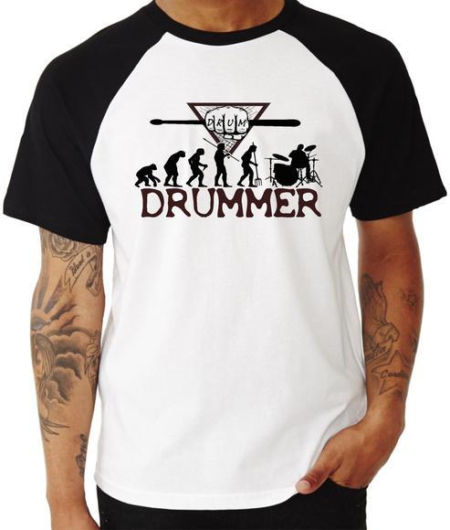 Camiseta evolução baterista - rock