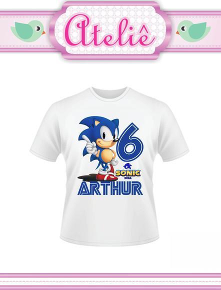 Camiseta infantil personalizada sonic
