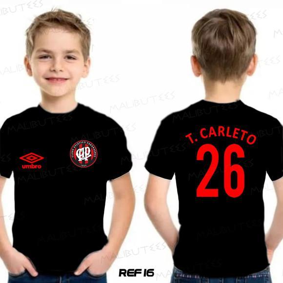Camiseta infantil personalizada time atlético pr futebol