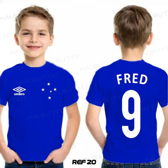 Camiseta infantil personalizada time cruzeiro