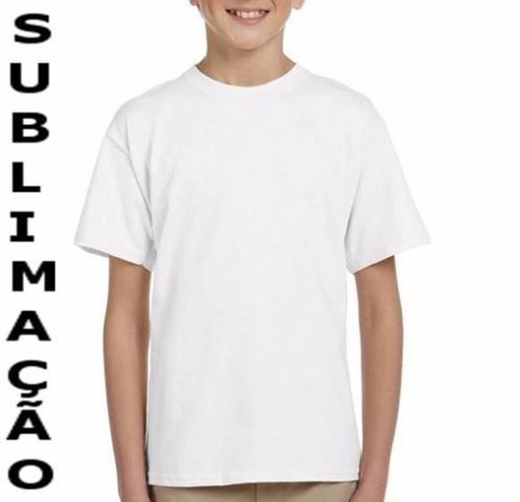 Camiseta infantil poliéster sublimação branca lisa