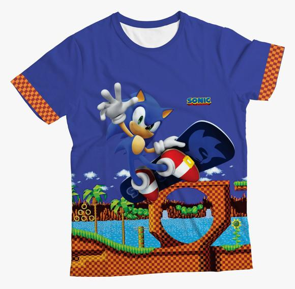 Camiseta infantil do sonic winner azul