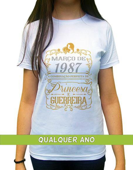 Camiseta princesa guerreira março personalizada com ano