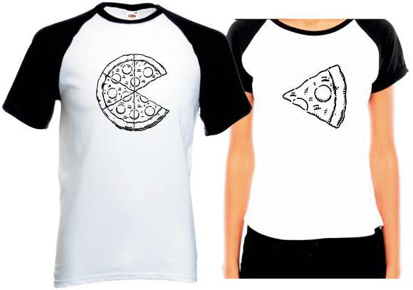 Camiseta raglan casal pizza love dia dos namorados kit com 2