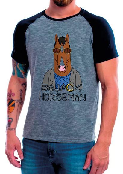 Camiseta raglan manga curta bojack horseman