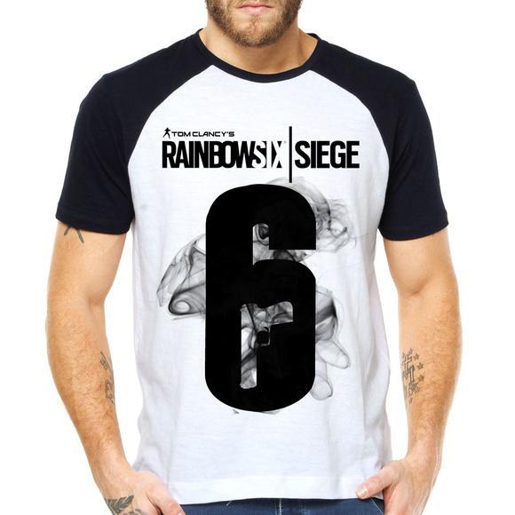 Camiseta rainbow six siege raglan manga curta