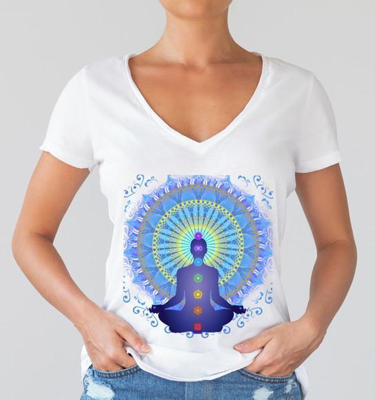 Camiseta yoga-ioga chakras-mandala-sukhasana