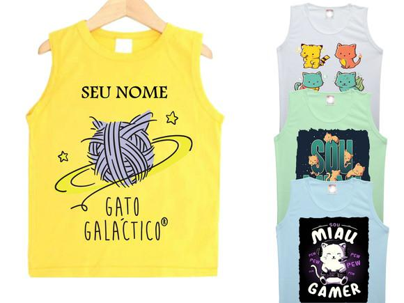 Camiseta personalizada infantil gato galactico regata