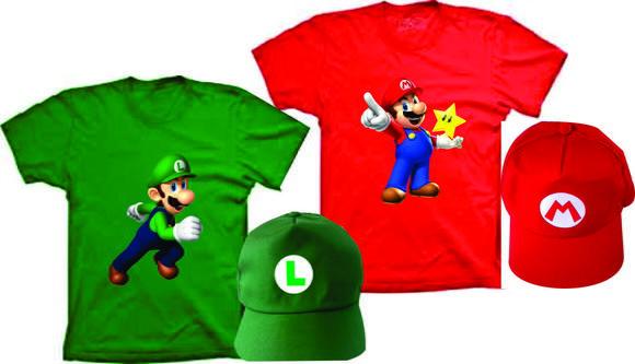 Camisetas super mario bros e luigi personalizados com boné