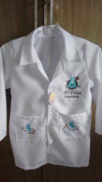 Jaleco infantil bordado manga longa cientista