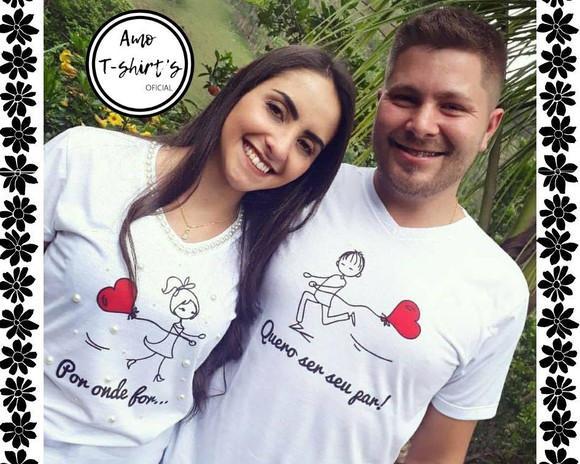 Kit 2 camisetas casal noivado com pérolas