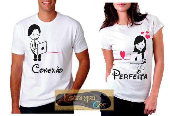 Kit 2 camisetas namorados casal conexão perfeita