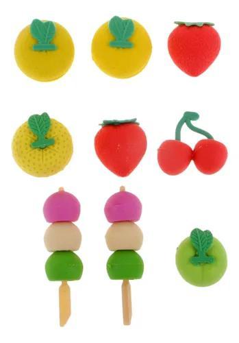 16pcs frutas lápis borrachas crianças escola artigos de pa