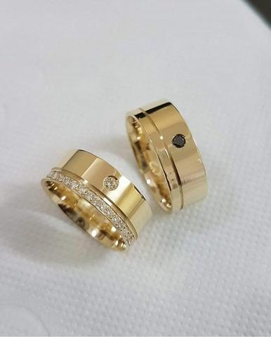 Alianças personalizadas em ouro 18k casamento-noivado